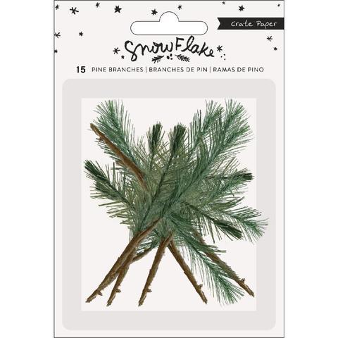 Украшения Snowflake Faux Pine Branch W/Paper Stem 15шт.