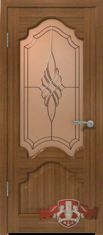 Дверь 11ДО3 S (орех S, остекленная шпонированная), фабрика Владимирская фабрика дверей