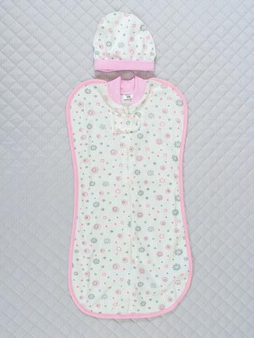 Кокон Baby + шапочка  (розовый, 56 см)