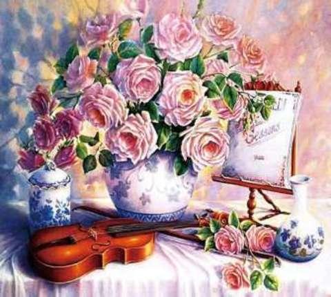 Алмазная Мозаика 30x40 Букет роз и скрипка (Арт. ТС3582)