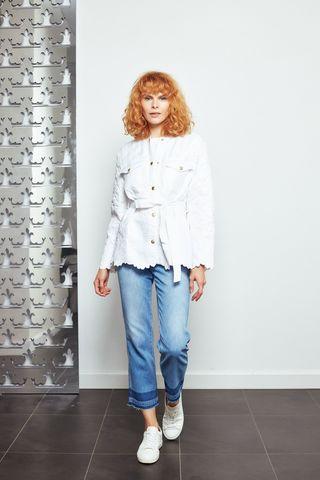Ermanno Firenze Куртка  стеганая с цветочной выработкой