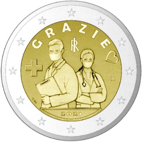 2 евро  Медицинская профессия. Медики . Италия  2021