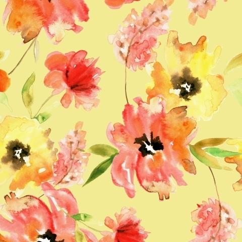 Акварельные оранжевые цветы на желтом фоне