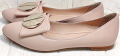 Модные женские туфли лодочки без каблука Wollen G192-878-322 Light Pink.