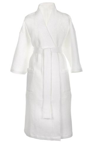 Вафельный белый мужской халат для бани Премиум