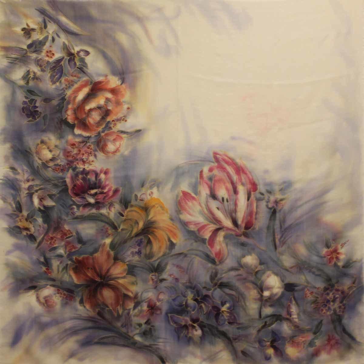 Шерстяной платок батик Голландские цветы-2 C-77-sh