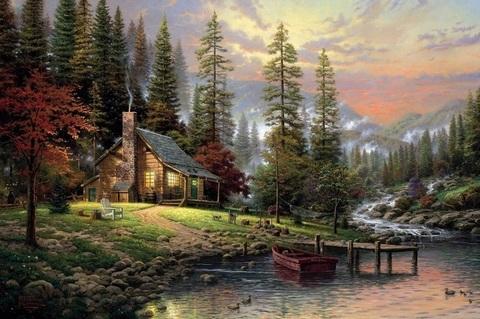 Алмазная Мозаика 38х28 Уютный дом у реки ночью (арт. K1725)