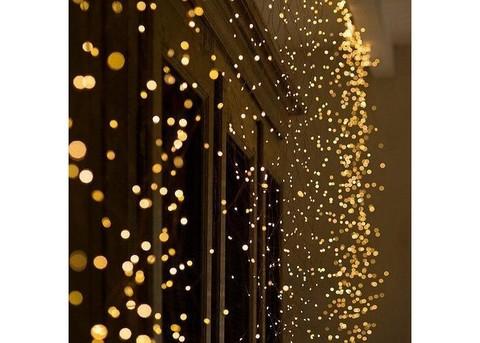 Гирлянда Штора на проволоке Капля росы 3 х 1 м 200 LED белый, теплый, синий, мультик