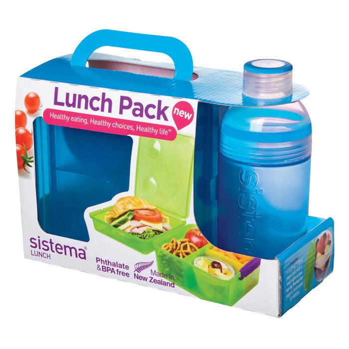 """Набор Sistema """"Lunch"""": ланч-бокс с баночкой и бутылка, цвет Голубой"""