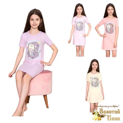 Сорочка хлопок девочке (6-14) 210318-М1155