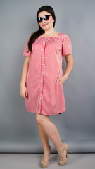 Клариса. Красивое платье-рубашка плюс сайз. Красная полоска.