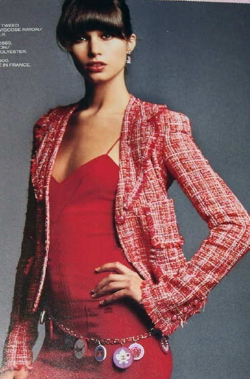 Изысканный красно-розовый твидовый жакет от Chanel, 42 размер
