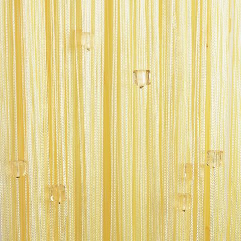 Веревочные шторы с бусинами (кубики) - Светло-желтые. Ш-300см., В-280см. Арт.203