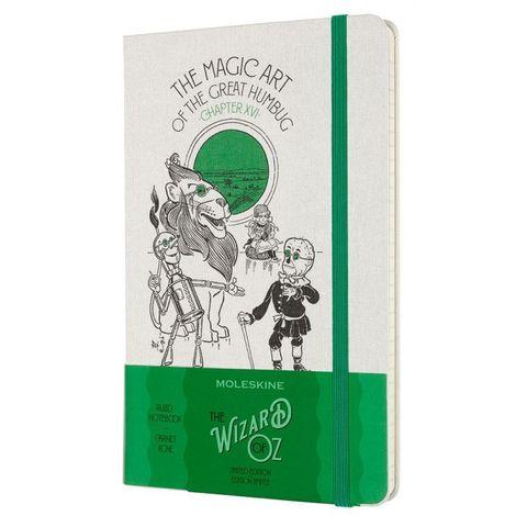 Блокнот Moleskine LE Wizard of OZ LEWOZQP060MA Large 130х210мм обложка текстиль 240стр. линейка белый/зеленый Magic Art