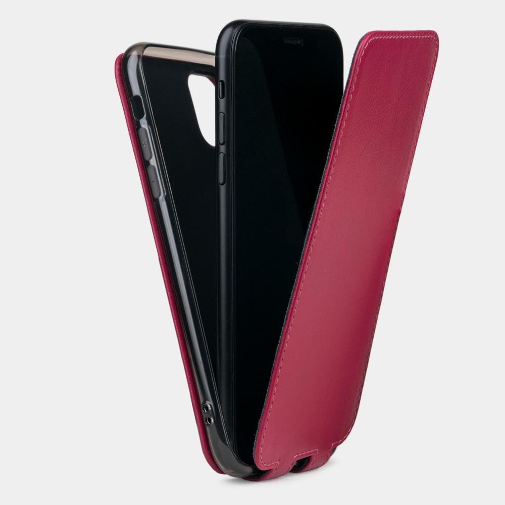 Чехол для iPhone 11 из натуральной кожи теленка, цвета малины