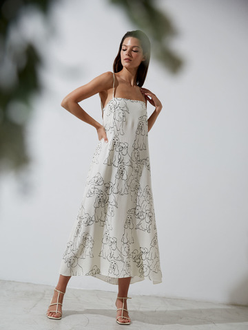 Платье-комбинация из вискозы Собачки