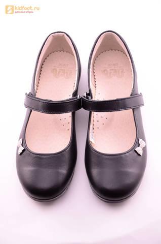 Туфли для девочек из натуральной кожи на липучке Лель (LEL), цвет черный. Изображение 13 из 18.