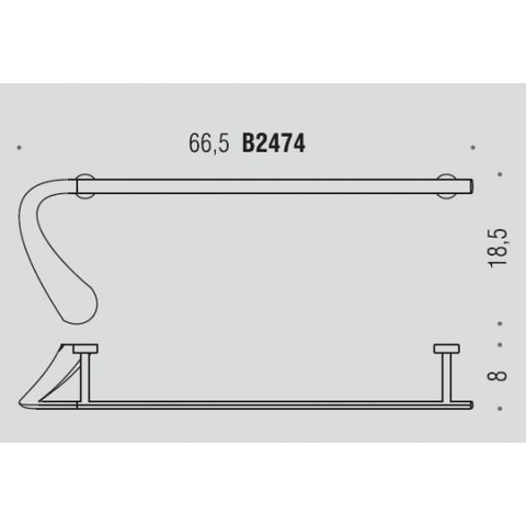 Полотенцедержатель 66см Colombo Link  B2474, хром схема