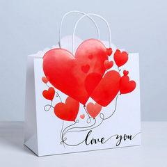 Пакет подарочный I love you, 27 х 27 х 11,5 см