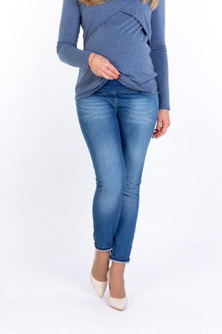 Моделирующие джинсы с эффектом push-up для беременных (SKINNY) 10386 синий