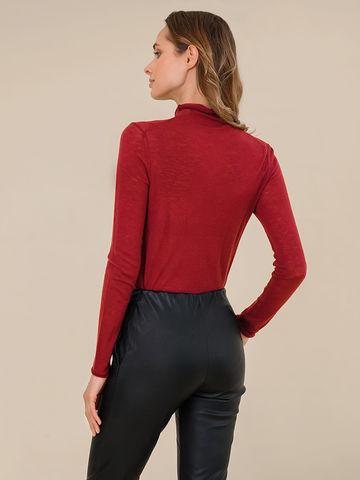 Женская водолазка бордового цвета из 100% шерсти - фото 4