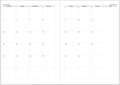 Разделительные страницы для ежемесячных заметок 15-MNTH MONTH ON TWO PAGE CALENDAR INSERTS (A5) для планера  формата A5