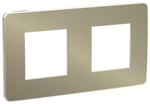 Рамка на 2 поста. Цвет Бронза/бежевый. Schneider Electric Unica Studio. NU280451