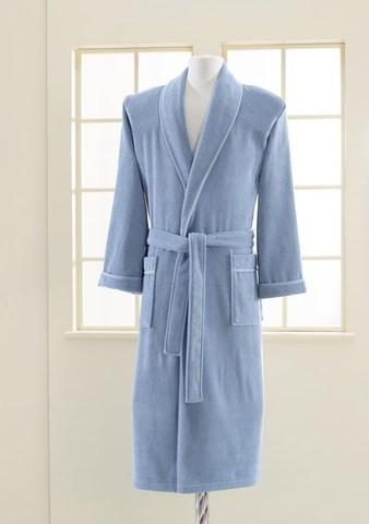 Махровый мужской банный халат LORD голубой