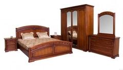 """Спальня """"Валенсия"""" (кровать 160х200 - 2-е прикроватные тумбы - комод с зеркалом - шкаф 4-дверный) —  Темный орех (MK-17-DN)"""
