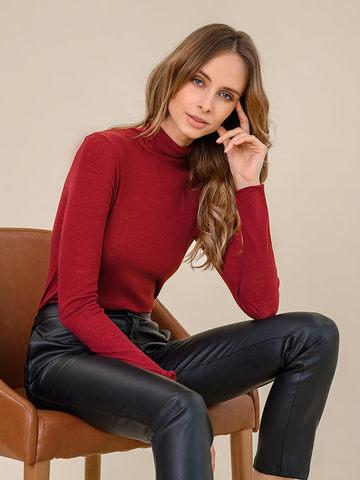 Женская водолазка бордового цвета из 100% шерсти - фото 3