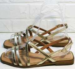 Красивые женские сандалии босоножки на низкой подошве Wollen M.20237D ZS Gold.