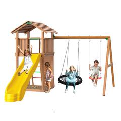 Детская площадка Jungle Cottage + Rock + Swing  Modul (с качелей +гнездо)