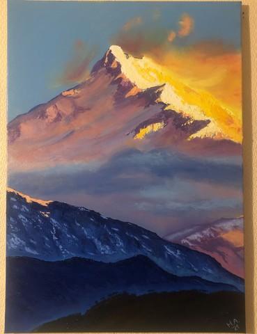 Картина маслом на холсте Солнечные горы. 50х70 см. Ручная работа.
