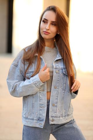Светло-голубая джинсовая куртка nadya
