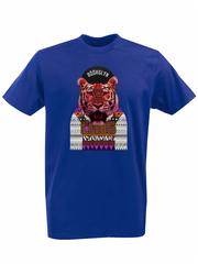 Футболка с принтом Тигр (Tiger) синяя 002