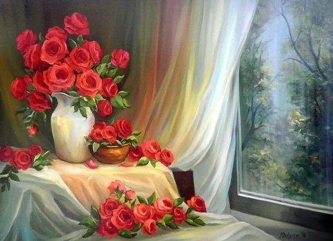 Картина раскраска по номерам 40x50 Красные розы у окна