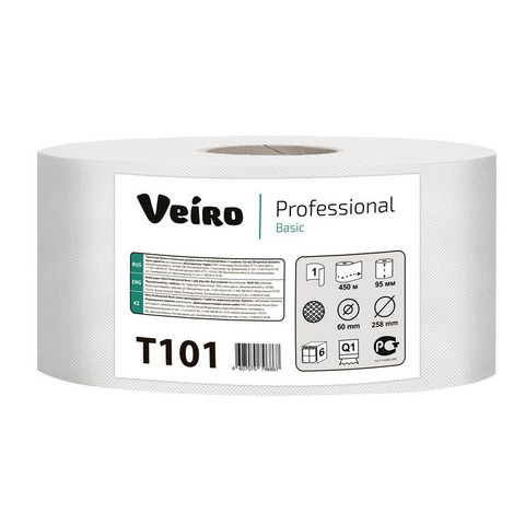 Бумага туалетная в рулонах Veiro Professional Q1 Basic 1-слойная 6 рулонов по 450 метров (артикул производителя T101)