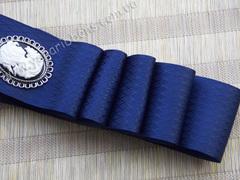 Лента атласная Морские фактурные ромбы ширина 38 мм