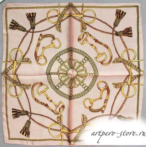 Квадратный платок, атлас (100% шёлк) (розовый 2)