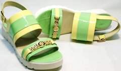 Красивые женские сандалии на танкетке Crisma 784 Yellow Green.