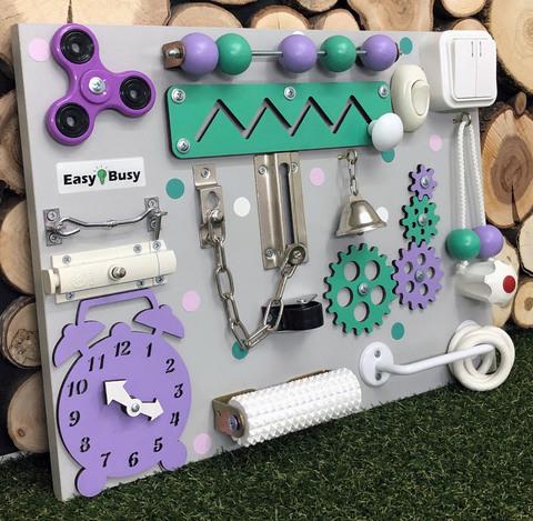 Бизиборд компакт мятно-фиолетовый со счетами универсальный