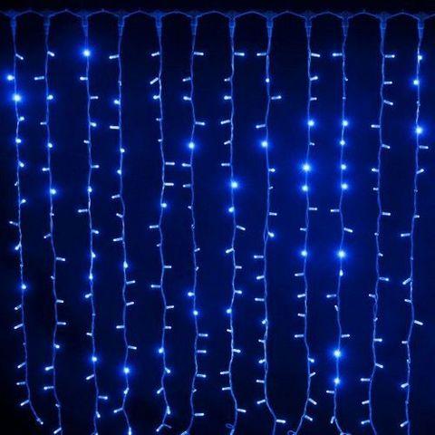 Новогодняя светодиодная LED гирлянда Штора на окно (занавес)  300х300см голубая