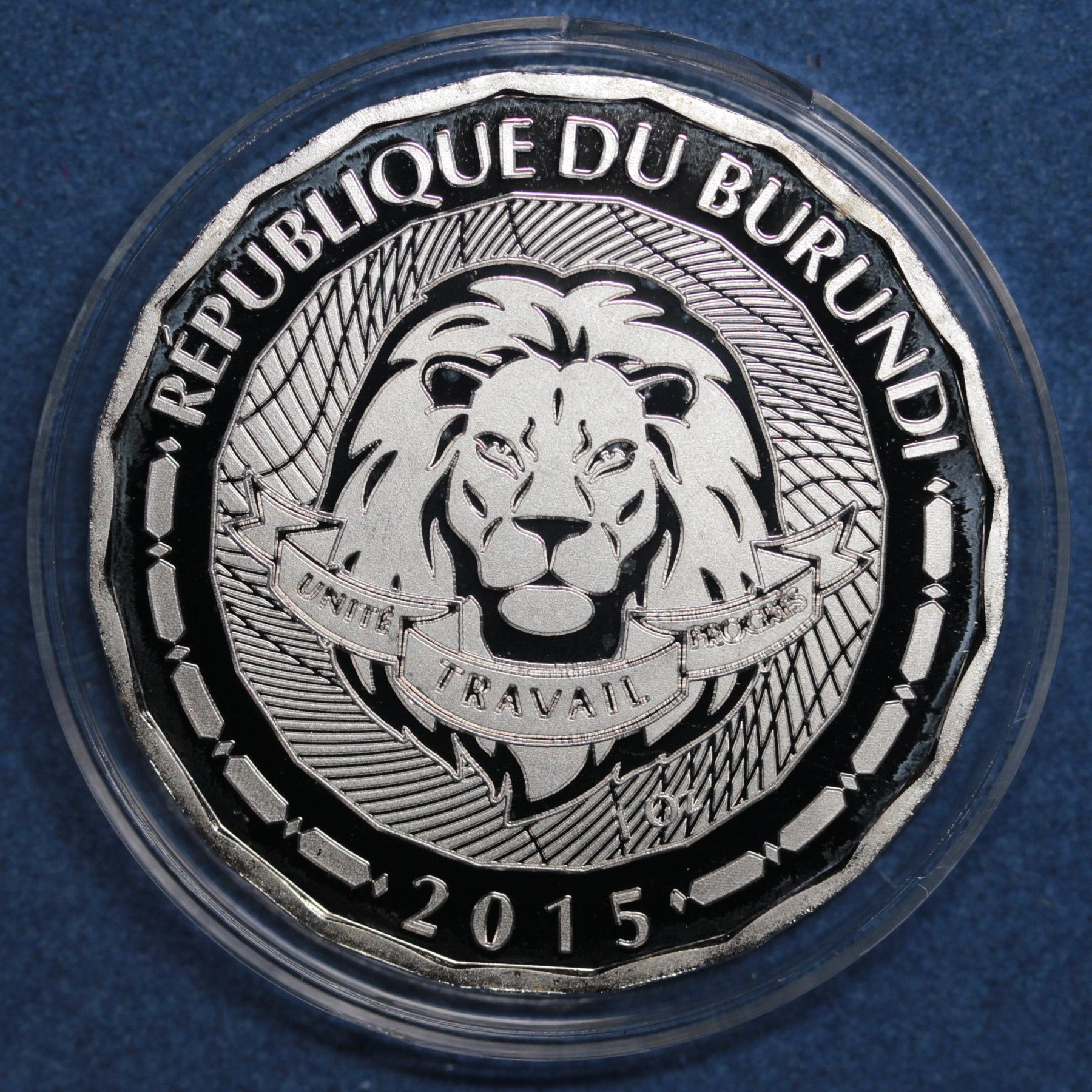 Жетон 100 франков Бурунди 2015 года Ангел Наварры неоновый Рыба Фауна Копия монеты посеребрение Копия
