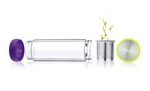 Термобутылка Asobu Twin lid (0,4 литра), желтая/фиолетовая