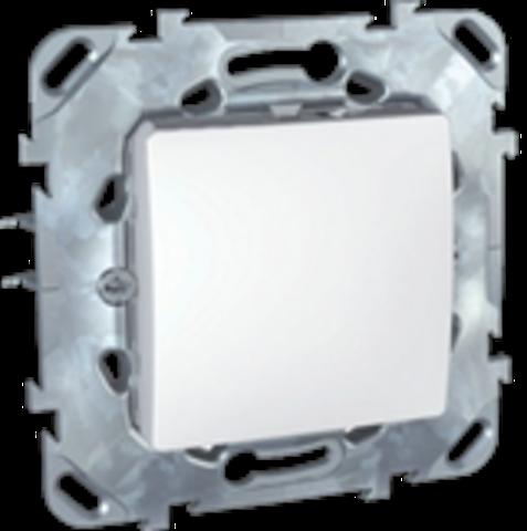 Выключатель кнопочный одноклавишный - Кнопка звонка - Выключатель без фиксации. Цвет Белый. Schneider electric Unica. MGU5.206.18ZD