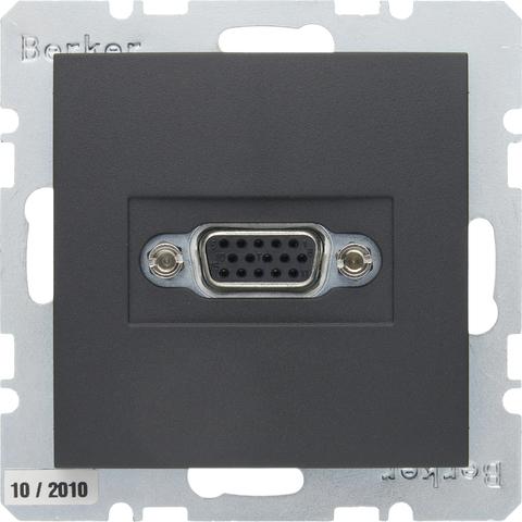 Розетка VGA (подключение к собранному кабелю). Цвет Антрацит. Berker (Беркер). S.1 / B.3 / B.7. 3315401606