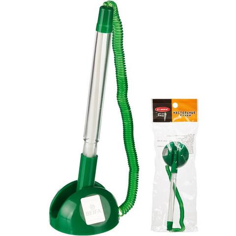 Ручка шариковая на зеленой подставке Beifa синяя на липучке с пружиной (толщина линии 0.5 мм)
