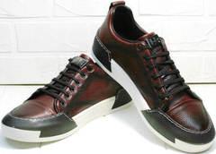 Демисезонные кроссовки кеды кожаные мужские Luciano Bellini C6401 MC Bordo.