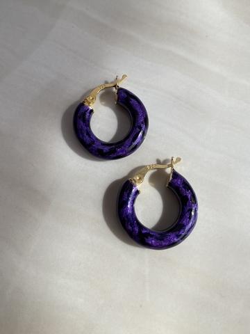 Серьги Лео фиолетовые, позолота