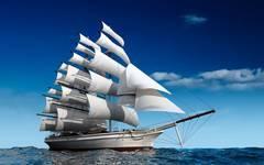 Алмазная Мозаика + Багет 40x50 Следование корабля с белыми парусами